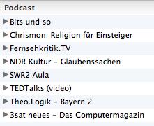 Ein Bildschirmfoto meiner in iTunes abonnierten Podcasts