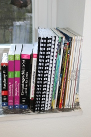 A small library with Raspberry Pi related books and magazines