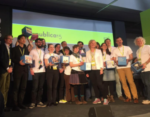 Die glücklichen Gewinner des Code Week-Awards 2015 auf der re:publica