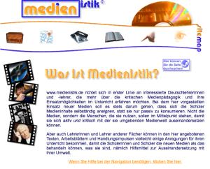 So sah MEDIENISTIK.DE 2006 aus.
